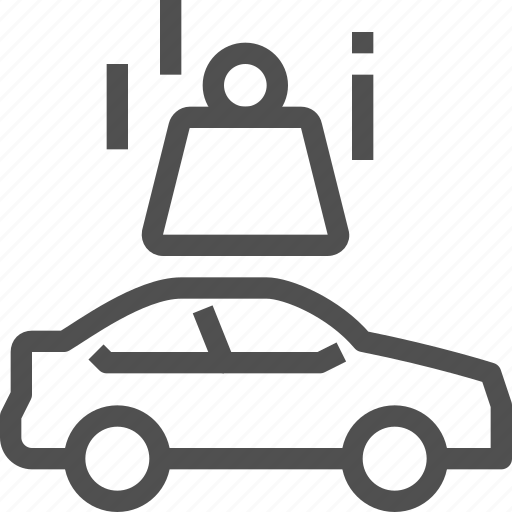 accident, auto, car, crash, damaged, fall, weight icon
