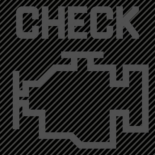 automobile, car, dashboard, engine, motor, service, сheck icon