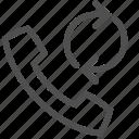 arrow, call, call back, circle, handset, phone, telephone icon