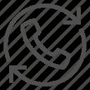 arrow, call, circle, handset, phone, telephone, update