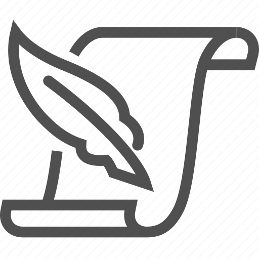 document, feather, paper, scroll icon