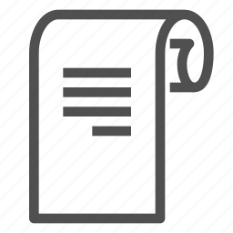 document, paper, scroll icon