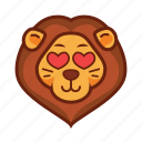 emoticon, heart, lion, love