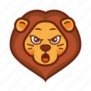 emoticon, wild, angry, lion, mad