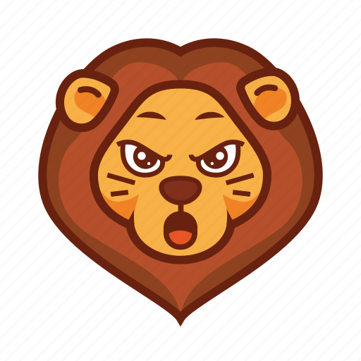 angry, emoticon, lion, mad, wild icon