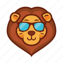 emoticon, lion, cool, glasses