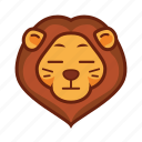 animal, emoticon, flat face, lion icon