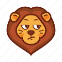 animal, cynic, emoticon, lion, squint icon