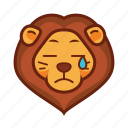 emoticon, lion, cry, sad