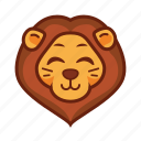 emoticon, cute, funny, lion, animal, smile