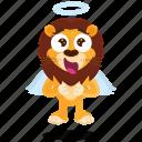 angel, emoji, emoticon, lion, smiley, sticker icon
