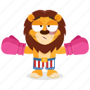 boxer, emoji, emoticon, lion, smiley, sticker icon