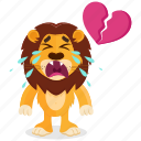 broken, emoji, emoticon, heart, lion, smiley, sticker icon
