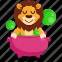 cauldron, emoji, emoticon, lion, potion, smiley, sticker icon