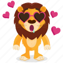 emoji, emoticon, glasses, lion, love, smiley, sticker icon