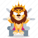 emoji, emoticon, iron, lion, smiley, sticker, throne icon