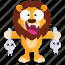 emoji, smiley, emoticon, killer, sticker, lion icon