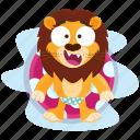 emoji, relaxation, pool, emoticon, smiley, sticker, lion icon
