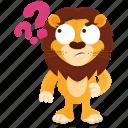 emoji, emoticon, lion, question, smiley, sticker, wonder icon