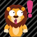 emoji, emoticon, exclaimation, lion, smiley, sticker, surprise icon