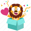 emoji, emoticon, lion, love, smiley, sticker, surprise icon