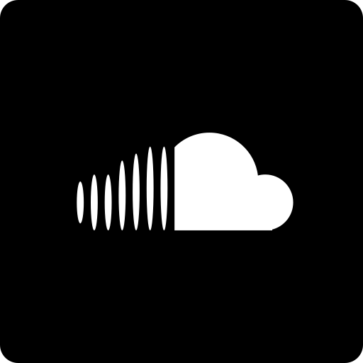 cloud, media, social, sound, square icon