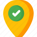 checked, direction, location, map, navigation, pin icon