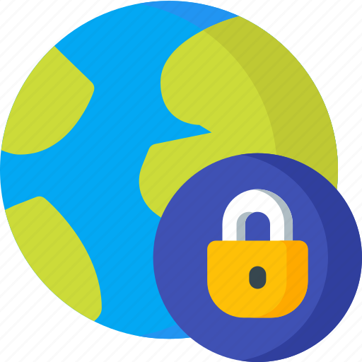 earth, location, lock, map, navigation, pin, place icon