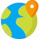 earth, globe, location, map, navigation, pin, place icon