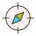 compass, gps, location, map, pin, pointer icon
