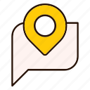 conversation, gps, location, map, pin, pointer icon