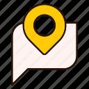 conversation, gps, location, map, pin, pointer