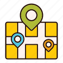 gps, location, map, paper, pin, pointer icon