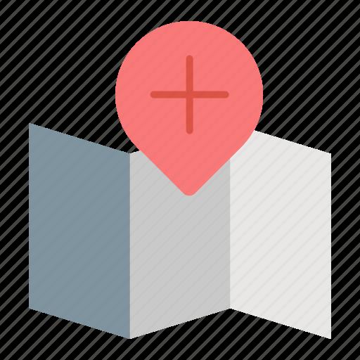 add, location, map, navigation, plus icon