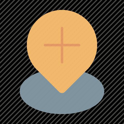 add, location, marker, pin, plus icon