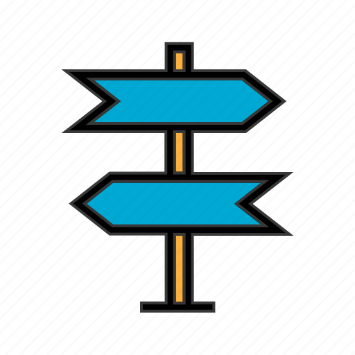 direction arrow, direction board, direction post, navigation board, street board, street sign icon