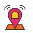 home location, house address, house location, location pin, map, navigation icon