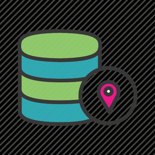 data centre, database location, distributed computing, location pin, server location, track data icon