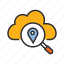 cloud centre, gps, navigation pin, server location icon