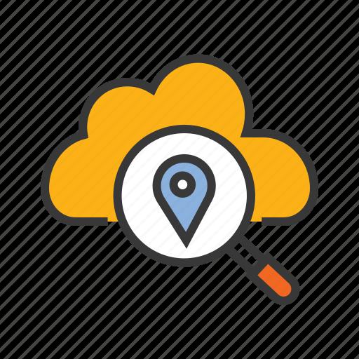 cloud centre, gps, navigation pin, server location icon