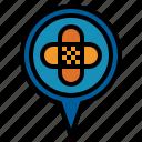 hospital, location, pin icon