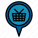 location, pin, shopping icon