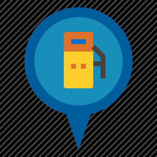 gas, pin icon