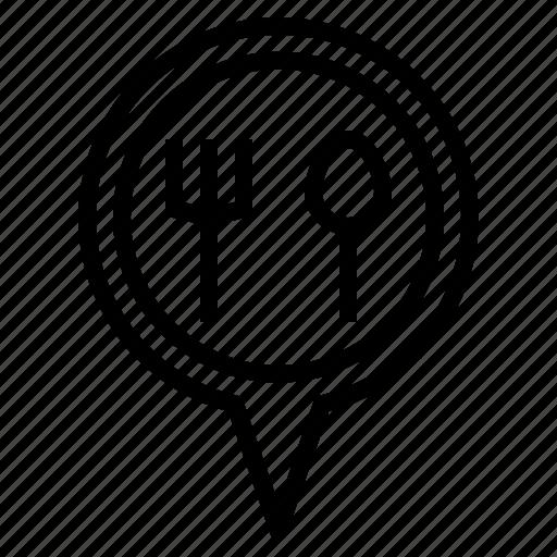 food, location, pin icon