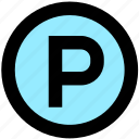 car park, parking area, parking lot icon