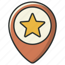 bookmark, direction, favorite, location, navigation, pin, star icon