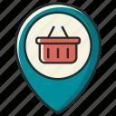 address, buy, cart, navigation, pin, shop, shopping icon