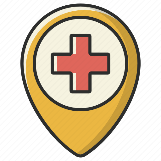 hospital location, medical location, navigation location, pharmacy location icon