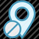 block, gps, location, location pin, map pin, navigation, pin icon