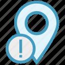 gps, location, location pin, map pin, navigation, pin, warning sign icon